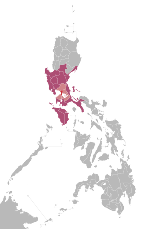 DZBB-TV - Red: Home location of GMA 7 Manila Light red and red: Market audience of GMA 7 Manila Violet: Areas that may receive signals from GMA 7 Manila