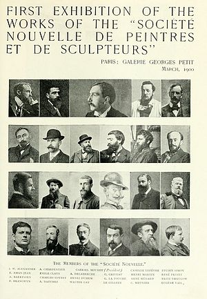 Georges Petit - March 1900 Announcement in The Studio of the First Exhibition of the Société Nouvelle de Peintres et de Sculpteurs at the Galerie Georges Petit in Paris.