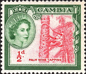 Queen of the Gambia - Elizabeth II on a Gambian stamp, 1953