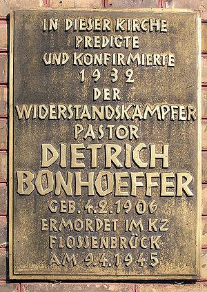 Deutsch: Gedenktafel, Dietrich Bonhoeffer, Zio...