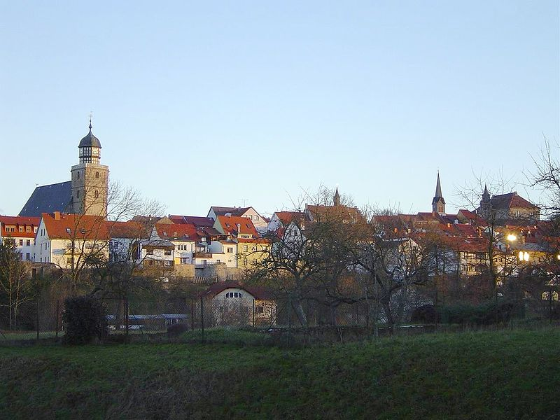 Ansicht der Innenstadt von Geisa im Wartburgkreis von Westen