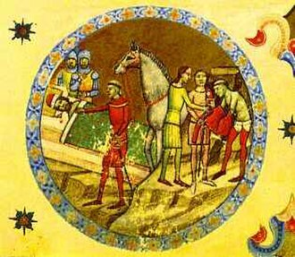 Géza I of Hungary - Abbot Villermus of Szekszárd warns Duke Géza (from the Illuminated Chronicle)