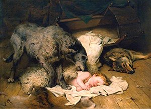 The Brahmin and the Mongoose - Gelert by Charles Burton Barber (1845–1894)
