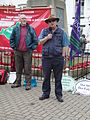 Geoff Lumley speaking at Isle of Wight Stop the Cuts rally May 2011.JPG
