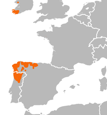 A map of part of Western Europe with southwestern Ireland, parts of northwestern Spain and part of northern Portugal marked in red.