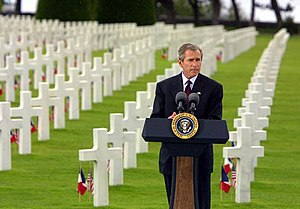 Timeline of the presidency of George W. Bush - President George W. Bush at the Normandy American Cemetery at Normandy Beach in France, May 27, 2002.
