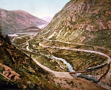 The Georgetown Loop of the Colorado Central Railroad as photographed by William Henry Jackson in 1899 Georgetown loop 1899.jpg