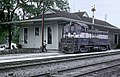Georgia RR 901 (NW2) switching in front of the Decatur, GA station on April 12, 1963 (22432131482).jpg