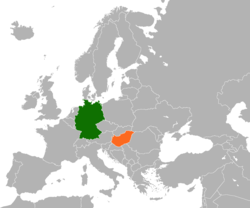 Map indicating locations of Germany and Hungary