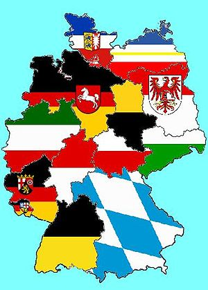 Flags of German states - A map of Germany, showing all the State flags.