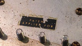"PAF (pickup) - Close-up of a ""Patent Applied For"" sticker"