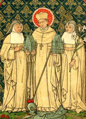 Gilbertine Order - Gilbert of Sempringham flanked by two nuns