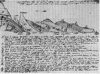 Giovanni Arduino (geologist) - Arduino's stratigraphic section in the province of Vicenza (pen and ink) 1758