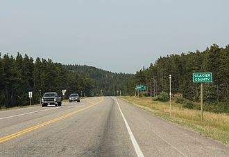 Glacier County, Montana - The sign for Glacier County on U.S. Route 2