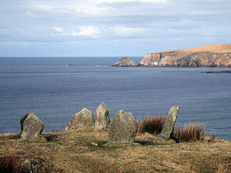 Broadhaven Bay - Stone circle at Glengad overlooking Broadhaven Bay, Erris