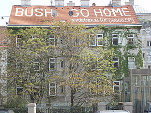 "Public image of George W. Bush - ""Bush Go Home"" in Vienna, 2007"
