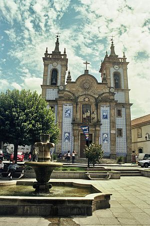 Gouveia, Portugal - Gouveia, Portugal, a church with the façade covered with tiles (azulejos)