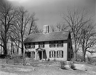 Simon Bradstreet - This house (1930s photograph), now located in North Andover, Massachusetts, was thought for many years to belong to the Bradstreets.  In the 20th century it was found to have been built in 1715, and is now called the Parson Barnard House.