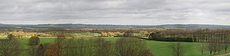 Graffham - Panorama from the South Downs, above the village and facing north.