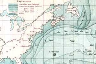 Grand Banks of Newfoundland - Historic map including the Grand Banks.