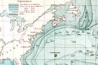 Grand Banks of Newfoundland - Historic chart including the Grand Banks.