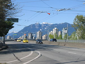 Granville Street Bridge - The modern Granville Street Bridge, with downtown and the North Shore mountains in the distance.