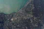 Satellite photograph of Cleveland and its surrounding suburbs