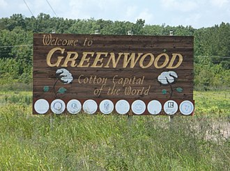 Greenwood, Mississippi - Image: Greenwood MS Welcome Sign Hwy 7