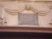 Gedenktafel für Ludwig Gotthard Kosegarten an seinem Sterbehaus in Greifswald (Quelle: Wikimedia)