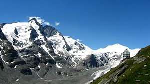 Großglockner from behind the glass panorama tower.JPG