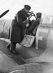 Group Captain A.G. 'Sailor' Malan on the wing of Squadron Leader Hugo 'Sinker' Armstrong's Spitfire Mk IX at Biggin Hill, 2 January 1943 CH8108.jpg