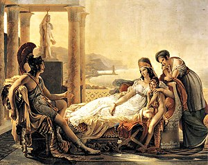 History of Carthage - Aeneas tells Dido of the fall of Troy.  (Guérin 1815)