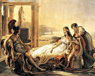 Dido - Aeneas recounting the Trojan War to Dido, a painting by Pierre-Narcisse Guérin. This scene is taken from Virgil's Aeneid, where Dido falls in love with, only to be left by, the Trojan hero Aeneas.