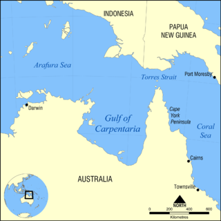 Gulf of Carpentaria A large, shallow sea enclosed on three sides by northern Australia and bounded on the north by the Arafura Sea