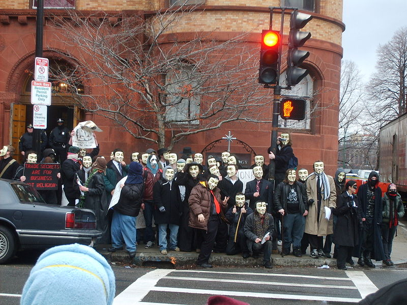 File:Guy Fawkes protesters outside Church of Scientology - Scientology Boston.JPG