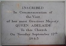 St John the Baptist Church, Hagley, tablet commemorating a visit by Queen Adelaide in 1843 (Source: Wikimedia)