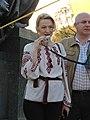 Halyna Kuts at demonstration in support of Ukrainian language bill in Kharkiv 04.2019.jpg