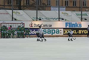 GAIS Bandy - GAIS about to execute a corner