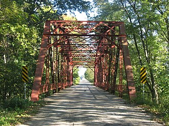 National Register of Historic Places listings in Hancock County, Indiana - Image: Hancock Rush County Line Bridge, southern portal