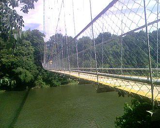 Chaliyar - Image: Hanging Bridge Across Chaliyar 1
