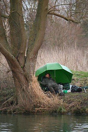 English: Having a snooze This guy fishing look...