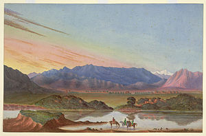 Abbottabad - 'The Rock Aornos from Huzara. From Nature by James Abbot 1850'