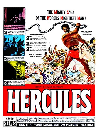 Sword-and-sandal - A poster for Hercules starring Steve Reeves