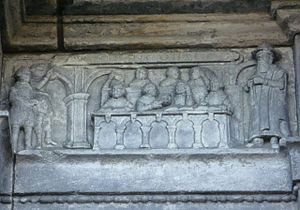 History of education in Scotland - Carving of a 17th-century classroom with a dominie and his ten scholars from George Heriot's School, Edinburgh.