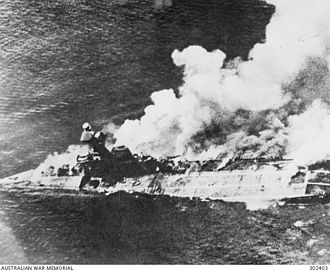HMS Hermes (95) - A close-up view of Hermes sinking
