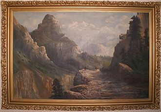"Hetch Hetchy - ""Little Arroyo"" side canyon in the Hetch Hetchy Valley — by John Englehart, signed as C.N. Doughty; oil painting; 1908"