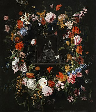 Hieronymus Galle - Madonna in a flower garland