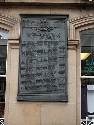 Highland Railway - Memorial at Inverness to men of the Highland Railway who gave their lives in the First World War