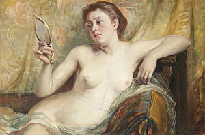 Hildegard Thorell - Modell med spegel (Model with a Mirror), oil on canvas (1899).