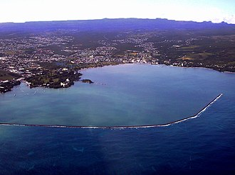 Hilo Bay - Hilo Bay and the town of Hilo, Hawaii with breakwater completed in 1929